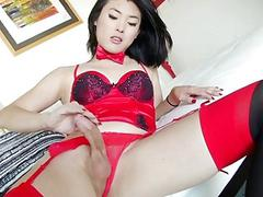 Naughty Asian Tgirl Enjoys Pleasing Herself