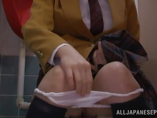 nerdy schoolgirl masturbates in the bathroom