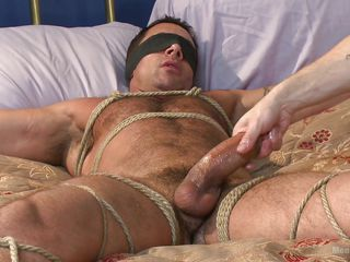 gay hunk is fastened up and jacked off