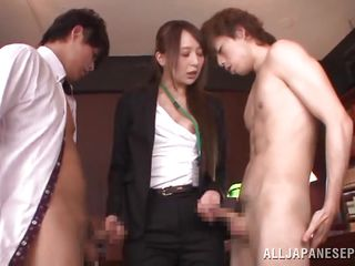 japanese cutie sucks twofold cocks in the office