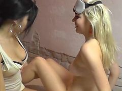 Lesbian oil massage by two 19yo czech amateur