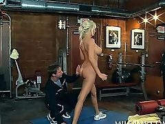 Blonde rounded MILF doing her work out naked