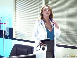 blonde doc treating a patient's largest boner