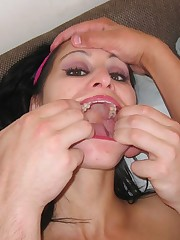 Kinky slut gets nose pinched well deepthroating dick
