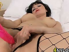 Mature Whore In Fishnets Masturbating