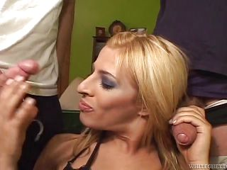 blond tranny swallows two dicks @ big ass transsexuals #04