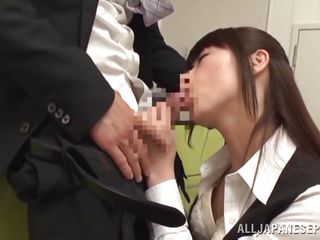intimate blowjob in the office kitchen
