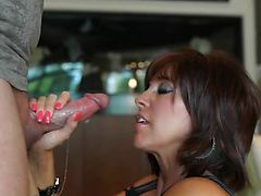 Busty MILF Sucks Cock Gets Cum Facial