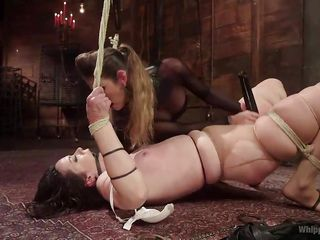 gagged bitch fucked by busty milf with thong on