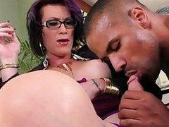 Big juggs tranny interracial anal sex by horny dude
