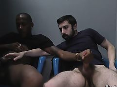 White stud sucks and bangs a black cock at a gloryhole