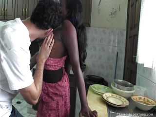 real african girl was bonked on the kitchen