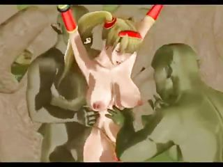 monster has a big green dick to fuck a blonde, tied beauty