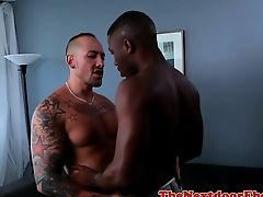 Muscular brown man enjoys interracial affair
