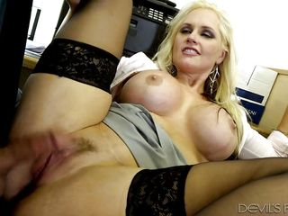 busty blonde railed in her cubicle @ enormous tit office chicks