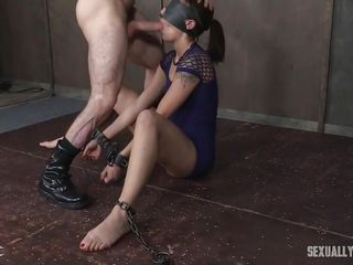 sexual slave is blindfolded and face fucked