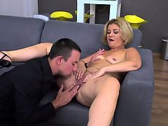 Small titted blonde MILF and her young aficionado