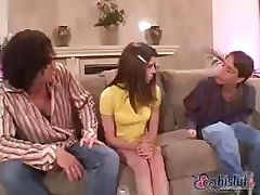 Brunette babysitter invites a couple of friends over to fuck