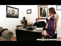 Busty secretary Kiera King seduces her boss
