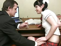Marina the slutty Russian school girl gets fucked by her teacher