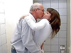 Nasty Teen Fucked By an Old Man in The Bathroom