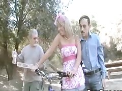 Naughty Blonde teen Has A Hardcore Threesome With Two Horny old Men