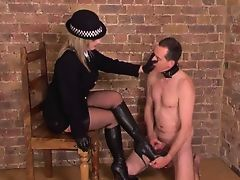 Posh British  makes slave to relieve himself