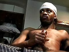 Black guy jerking off his long sexy cock
